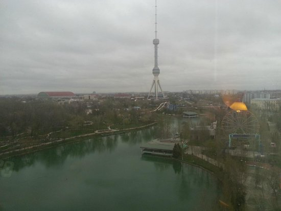 International Hotel Tashkent : View of the Lake and the TV Tower from the room