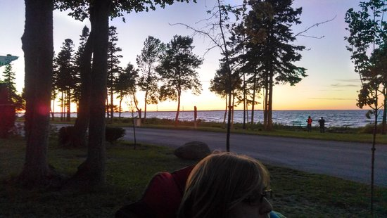 Mackinaw Mill Creek Campground: view of Mackinaw bridge