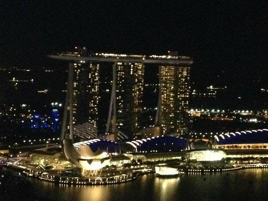 Swissotel The Stamford Singapore: Вид с балкона ночью.