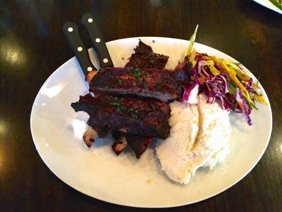 Olive B's Big Sky Bistro: Bison Ribs prepared sous-vide with truffle oil mashed potatoes