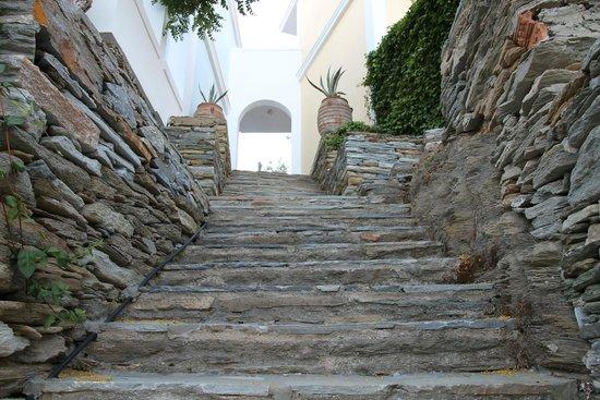 Aneroussa Beach Hotel : Σκάλα προς τον κήπο-παραλία