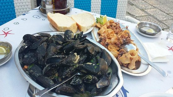 Kamenice: Calamari & mussels with bread sauce
