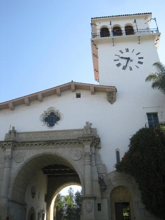Santa Barbara County Courthouse: Courthouse entrance and tower.