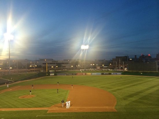 as the sun sets in Dozer Park
