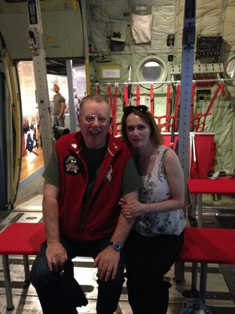 The Military Museums : Sitting inside of a C130 mock up with my wife.