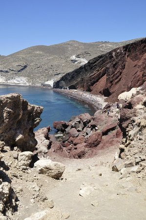 Red Beach: View from the rocky path heading towards beach