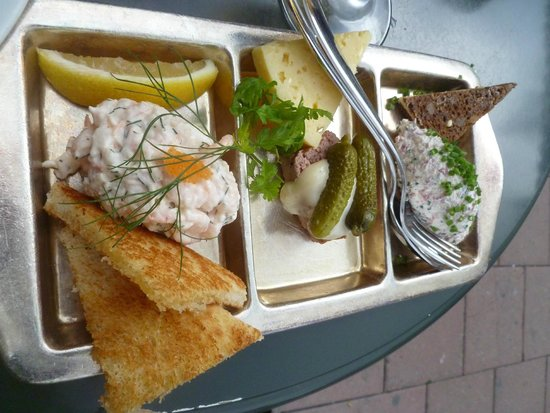 Sturehof : taste of 3--shrimp, pate, reindeer (also could have herring/salmon with cheese