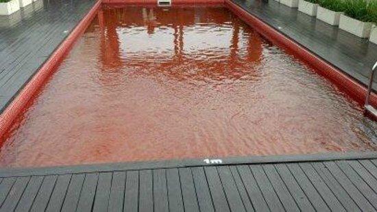 Broadway Hotel & Suites: A piscina, que fica no terraço tem o fundo vermelho, bem interessante.