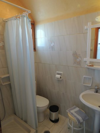 Vallas Apartments: Bathroom with teeny tiny shower