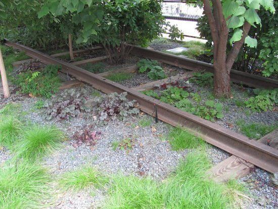 High Line: Plants interspersed among the old railroad tracks