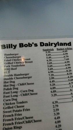 Billy Bob Dairyland : The menu