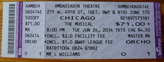 Chicago the Musical: See my Review Dated 29 Jun 14