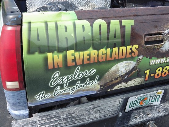 Airboat In Everglades : Back of their truck