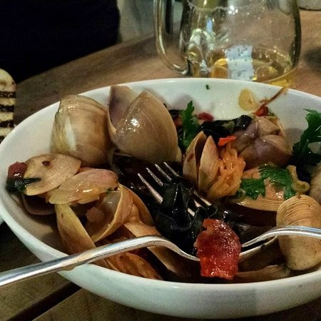 Depot Eatery & Oyster Bar: Squid ink linguine & 'Cloudy Bay' clams w/ hand-cut pasta, ficelle,  'Akaroa' chorizo & sauv bla