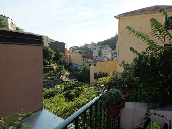 Locanda del Sole: View from terrace toward Riomaggiore city center