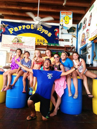 Parrot Eyes Restaurant Bar & Water Sports: We loved this staff guy named Ryan!