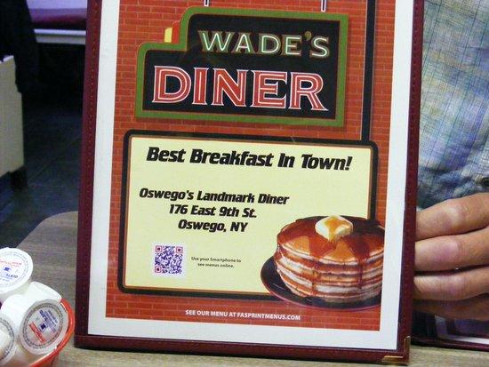 Wade's Diner: The menu