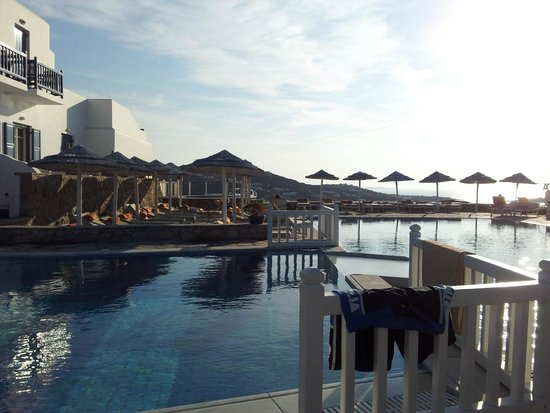 Myconian K Hotels: The pool in the early evening