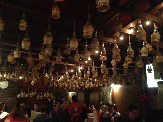 Filippi's Pizza Grotto : wine bottle ceiling
