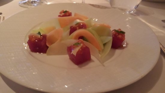 Aureole's tuna and melon appetizer