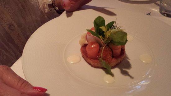 Salmon appetizer at Aureole
