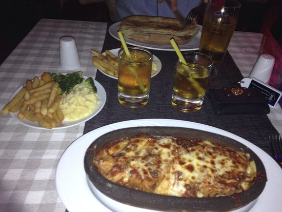 Club Atrium Apartments: Our massive dinner- lasagne and chips and mash and veg! Too much but lush