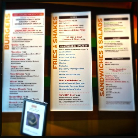 Bobby's Burger Palace: The giant menu on the wall next to the cashier