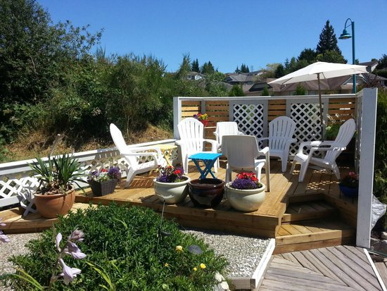 Above the Inlet B and B and Vacation Rentals: Sunny deck with ocean view