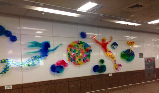 FE21' Dayuanbai: Pretty mural at Sanduo MRT Station; FE21 Mall is sited atop this station's exit 2.