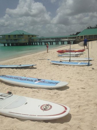 Paddle Barbados: down the beach at some boards