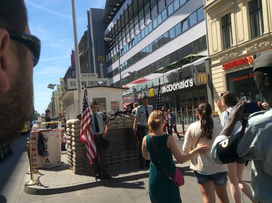 Mauermuseum - Museum Haus am Checkpoint Charlie: checkpoint charlie with tourists waiting for photos!