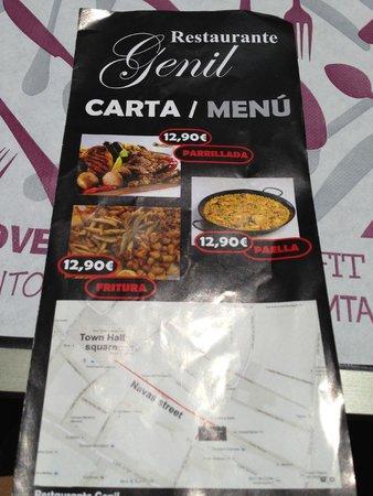 Restaurante Genil: Genil Menu