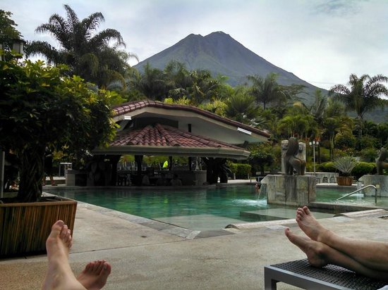 The Royal Corin Thermal Water Spa & Resort: poolside view of volcano on a clear day