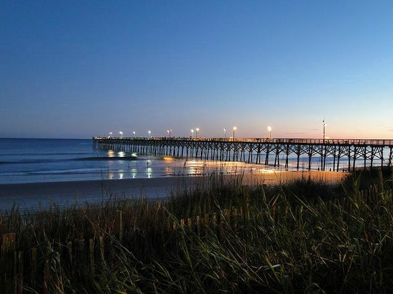 Pier at night picture of topsail island surf city for Topsail fishing pier