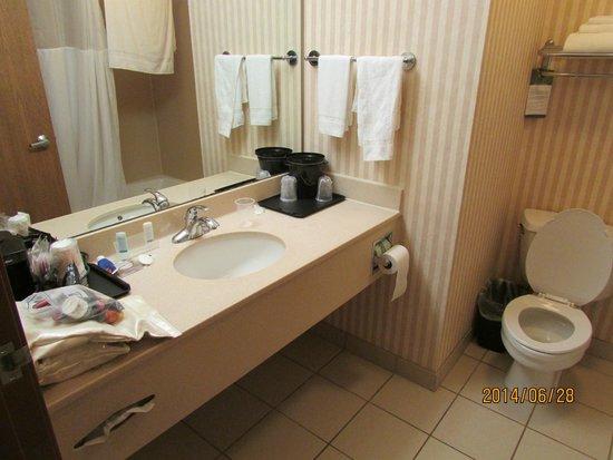 Sleep Inn & Suites Lake of the Ozarks: spacious sink and bath room