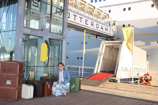 SS Rotterdam: Entrance to the ship with suitcases (not ours!!)