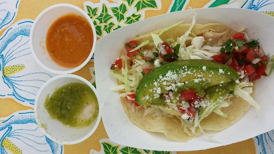 San Juan Taqueria: Tiny tortilla fish taco with 2 sauces