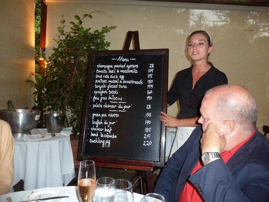 La Colombe: menu