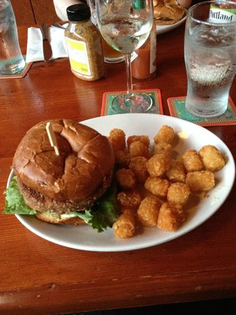 McMenamins Kennedy School: Veggie burger & tater tots