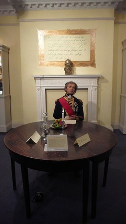 Nelson Museum: A lifelike Lord Nelson  at his table.