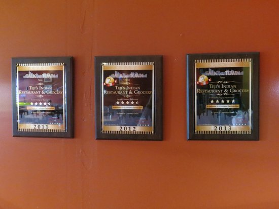 Teji's Indian Restaurant & Grocery: awards