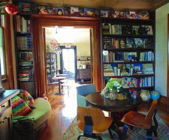 Made INN Vermont, an Urban-Chic Bed and Breakfast: The library and entrance to the eat-in kitchen