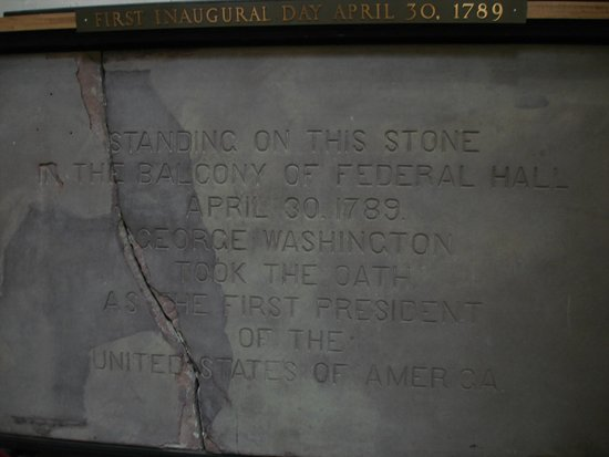 Federal Hall: Stone porch upon which George Washington stood