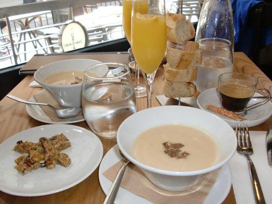 Chez Boulay-bistro boréal : Homemade granola, celery root soup with duck, mimosas