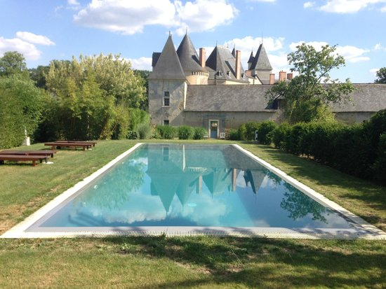 Château de Vaulogé : the chateau and pool(heated)