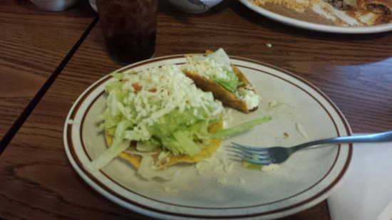 El Rey: Partly eaten taco (I just couldn't wait) and chalupa.