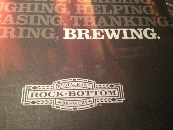 Rock Bottom Brewery : Menu