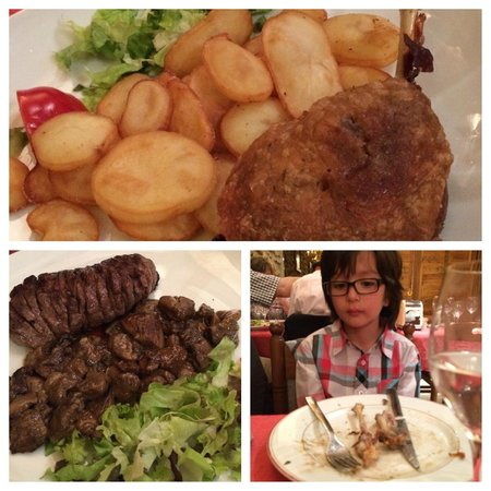 Au Petit Sud Ouest : Top: duck confit  Left: (rare) duck breast w/wild mushroom  Right: my son wishing there was more