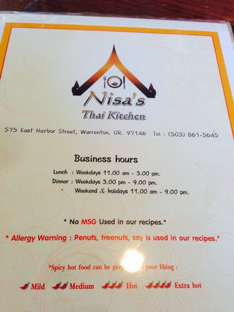 Opening page of Nisa\'s Thai Kitchen\'s menu. - Picture of Nisa\'s Thai ...