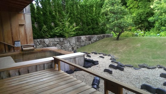 DHC Akazawa Geihinkan: 房間的泡湯池與庭園景觀